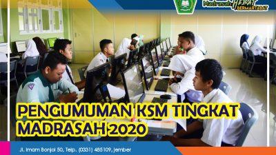 PENGUMUMAN HASIL SELEKSI KSM TINGKAT MADRASAH TAHUN 2020